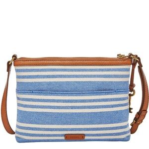 New Fossil Blue & White Fiona Small Crossbody Bag